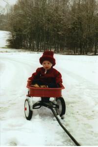 Caleb in Wagon - Winter 001