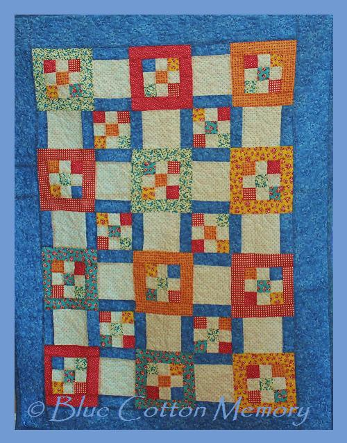 My very first quilt - a blue cotton quilt
